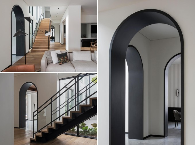 Each of the arched doorways in this modern interior are highlighted by a seamless matte black lining.