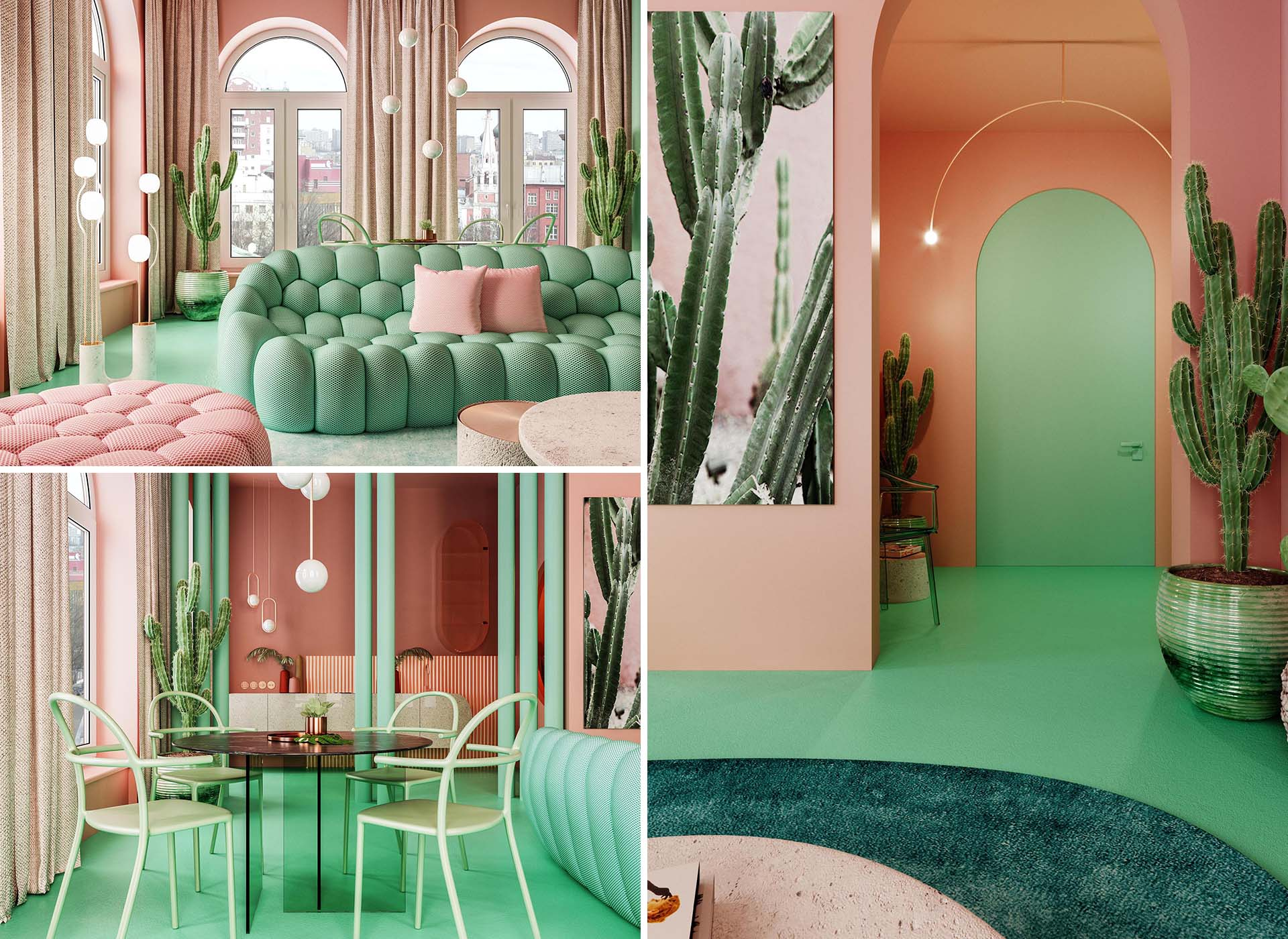 A bold and colorful apartment in Manhattan, includes a palette of pink and green.