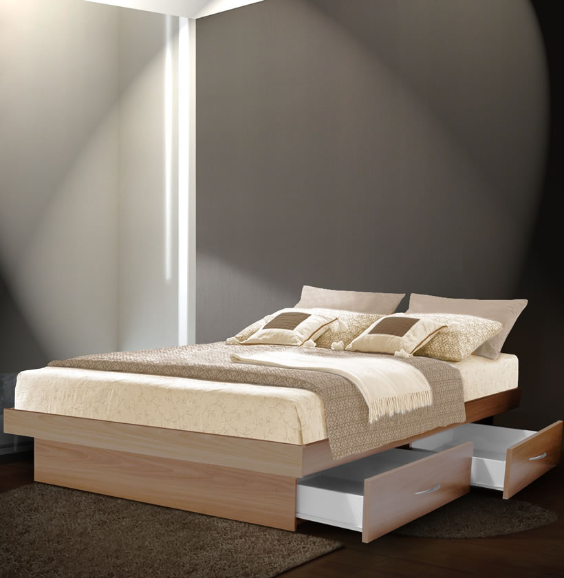 King Platform Bed With 4 Drawers Contempo Space