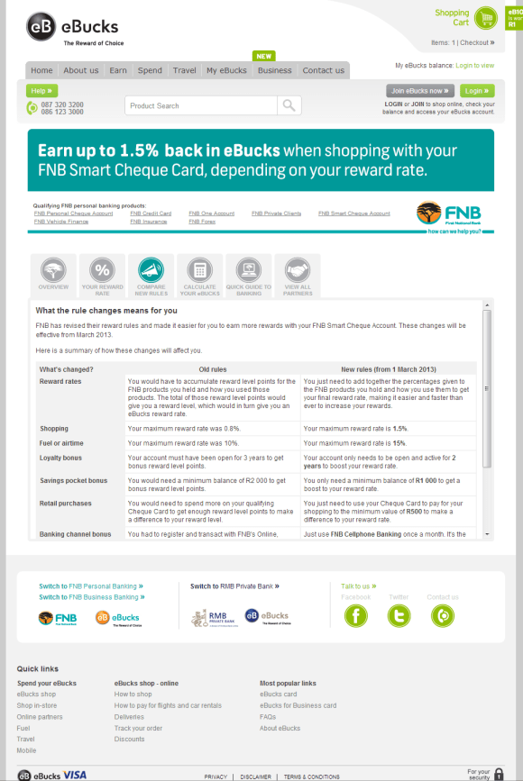 eBucks earn rule comparison page