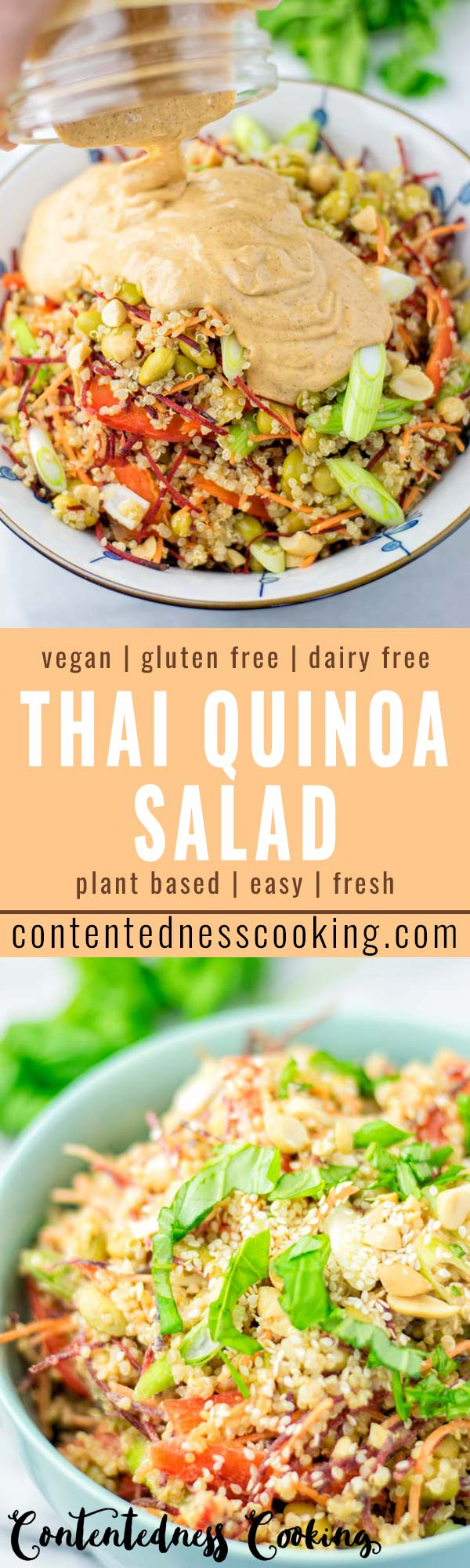 This Thai Quinoa Salad is super easy to make and naturally vegan, gluten free. It is all covered with the most delicious dressing you can ask you. Enjoy it for dinner, lunch, meal prep, work lunch and quick family meals. Even the pickiest kids will love it in no time. #vegan #dairyfree #glutenfree #dinner #lunch #mealprep #bugdetmeals #worklunchideas #vegetarian #contentednesscooking #familydinner #kidsmeals #thaiquinoasalad