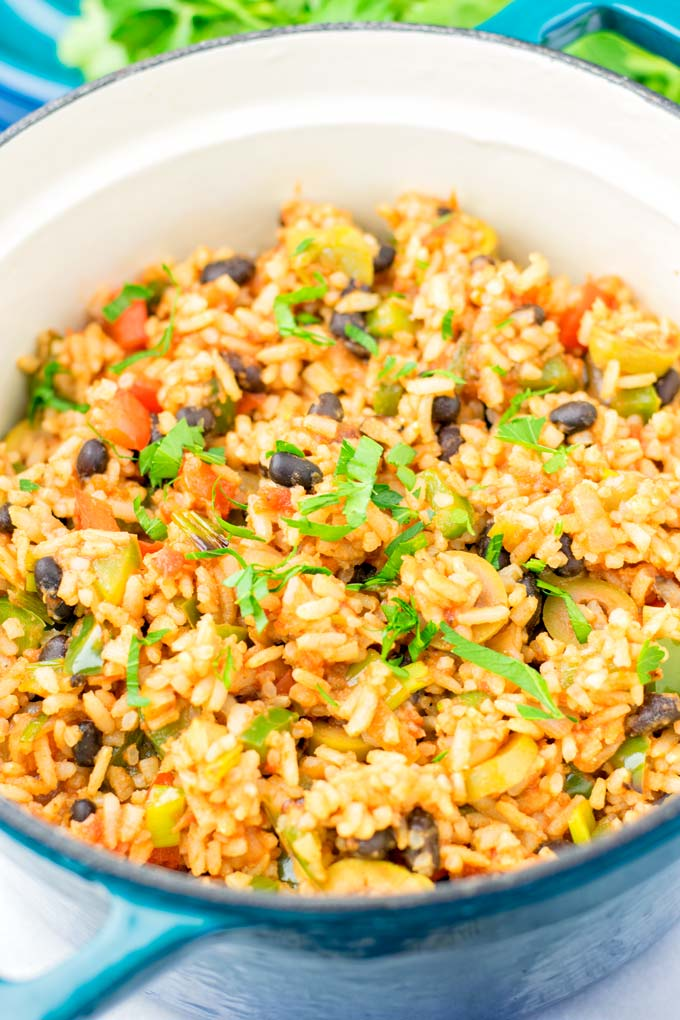 Closeup of Spanish Rice and Beans.