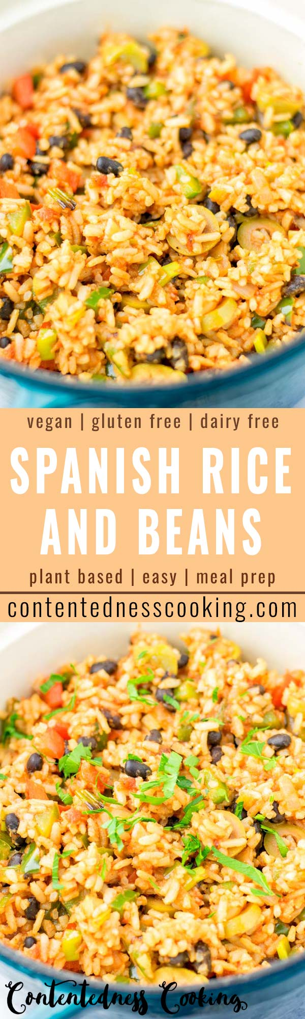 This Spanish Rice and Beans is made with authentic spices and is super easy to make in one pot. Ready in under 25 minutes and seriously so delicious. Amazing for dinner, lunch, meal prep and more. Also you will find an instant pot version. #vegan #dairyfree #glutenfree #vegetarian #onepotmeal #spanishriceinstantpot #dinner #lunch #mealprep #budgetmeals #contentednesscooking #comfortfood #familymeals #spanishriceandbeans