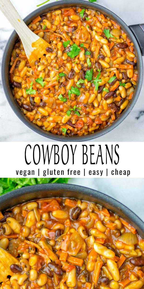 These Cowboy Beans are so easy and delicious. No one would ever taste they are vegan and you will find a instant pot and slow cooker version for more excitement as well. #vegan #glutenfree #dairyfree #onepotmeals #vegetarian #mealprep #dinner #lunch #comfortfood #cowboybeans #instantpot #slowcooker #contentednesscoking #familymeals