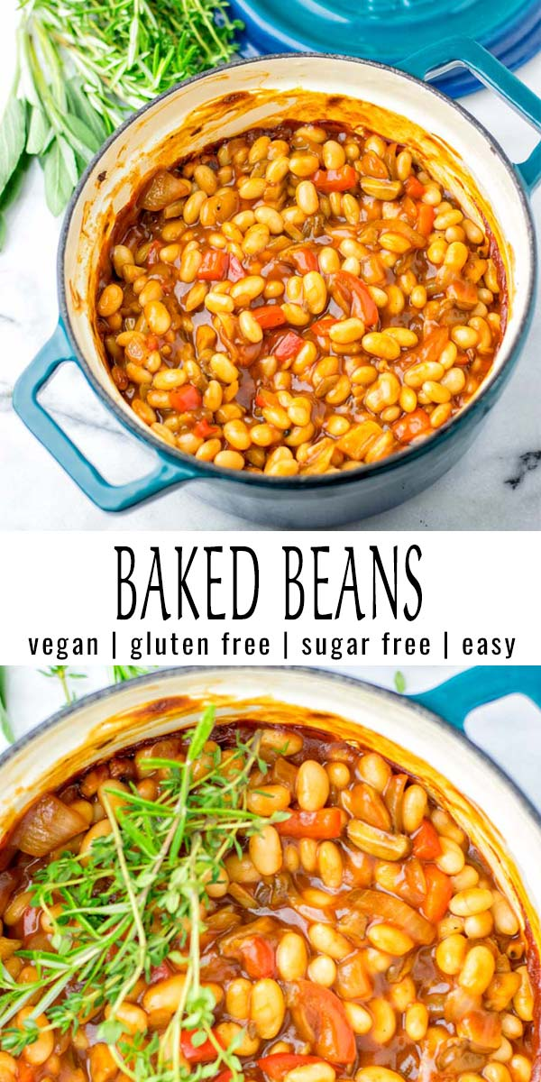 Simple and sugar free: these Baked Beans are made with white beans for the right texture and taste. Try these for yourself and you know we're talking about the best baked beans. An easy recipe no one would ever guess or taste it is naturally vegan. #vegan #glutenfree #dairyfree #vegetarian #dinner #lunch #mealprep #budgetmeals #bakedbeans #sugarfreebakedbeans #contentednesscooking