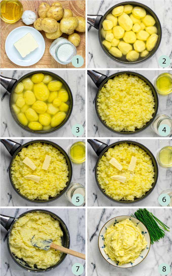 Step by step instructions how to make Garlic Mashed Potatoes