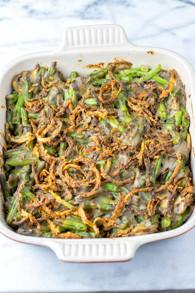 French Fried Onions give this vegan casserole its tasty crunch.