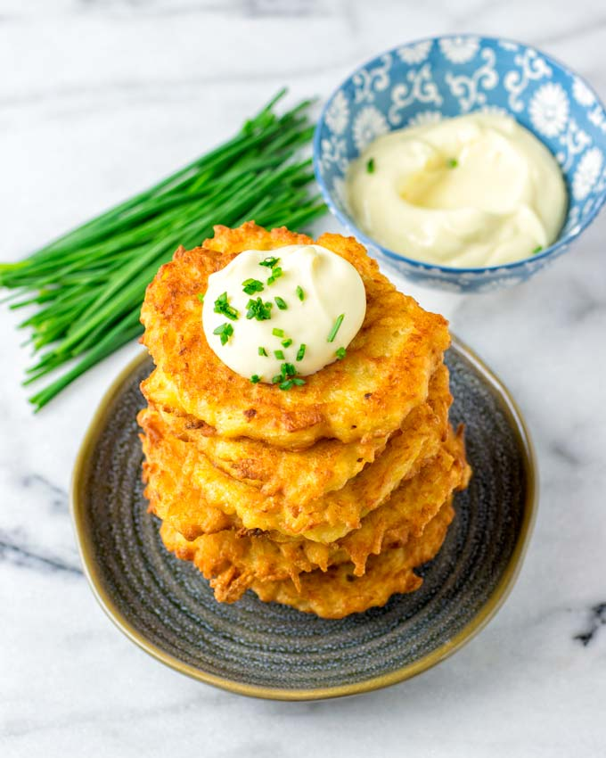 Enjoy easy vegan potato cakes as main or side dish.