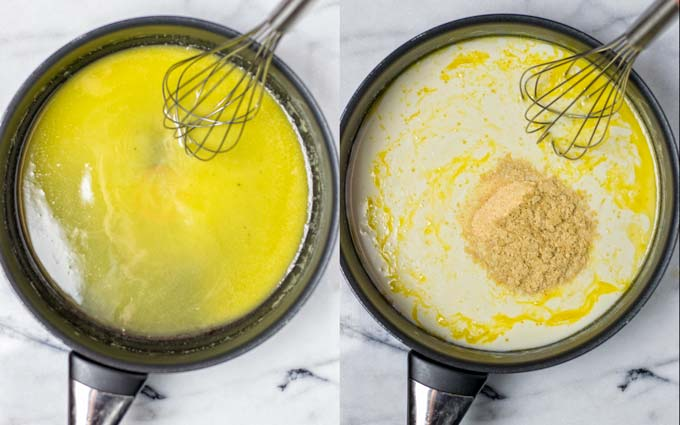 Making the creamy sauce starts with vegan butter.