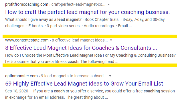 lead magnet for coaches on page 1