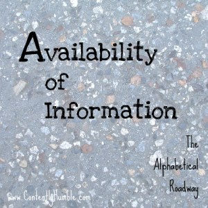 Availability of Information: The Alphabetical Roadway-A to Z Challenge