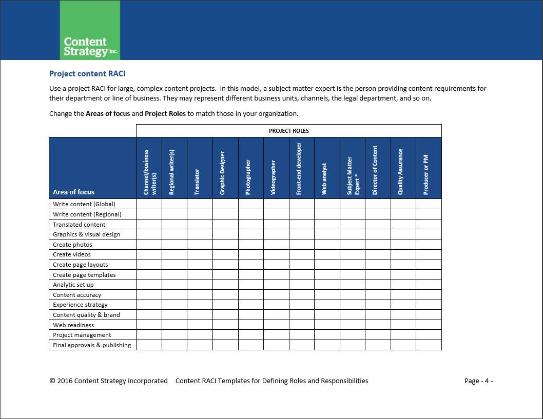 Content Toolkit Content Raci Templates
