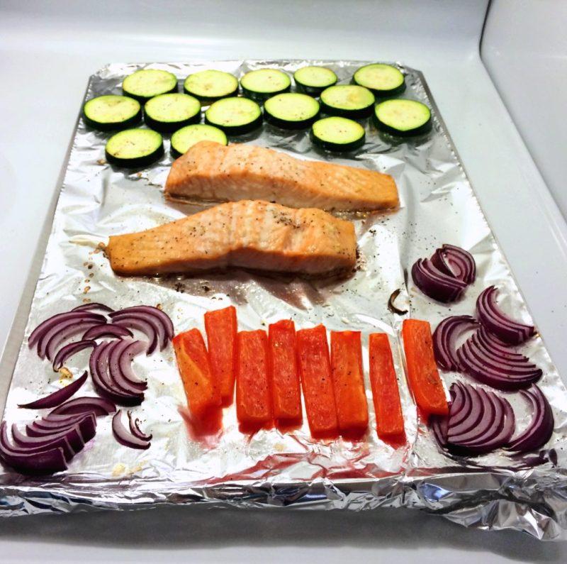 Salmon and Veggies Baking Sheet
