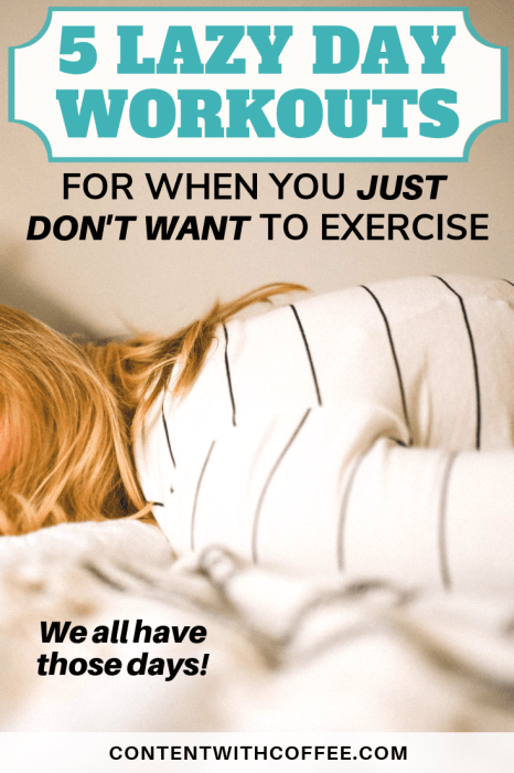 5 Lazy Day Workouts for When You Just Don't Want to Exercise. We all have days we're lacking workout motivation, but that doesn't mean they have to set you back on your fitness goals! Try out one of these 5 lazy workouts and you'll be happy you got a workout in today. #lazyworkouts #lazyday #fitnessmotivation #workoutmotivation #fitnessgoals