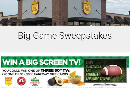 Fareway Big Game Sweepstakes – Stand Chance to Win a 60-inch TV