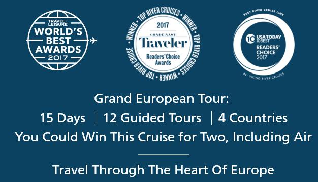 Viking Cruises 2018 May/June Grand European Tour Sweepstakes – Stand Chance to Win A 15 Day Budapest To Amsterdam Viking European Tour Cruise In A Veranda Suite