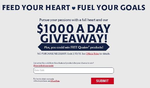 The Quaker Oats Feed Your Heart Instant Win Game Giveaway – Stand Chance to Win $1,000
