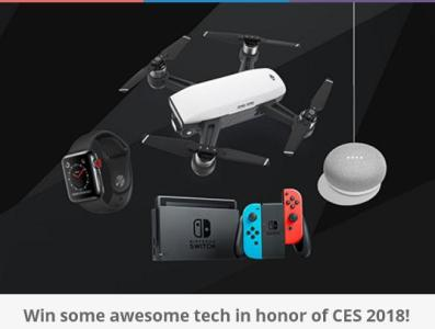 Digital Trends CES' Giveaway Sweepstakes – Chance to Win DJI Spark, Apple Watch Series, Nintendo Switch, Google Home Mini