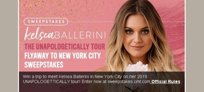 Kelsea Ballerini's CMT Fly Away to New York City Sweepstakes– Chance to Win $1500 Gift Card, Chance to meet Kelsea Ballerini, VIP Tickets to Kelsea's show