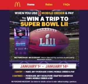 McDonald's Mobile Order & Pay Sweepstakes – Chance to Win A trip for two to Super Bowl LII, A $500 NFLShop.com Gift Card