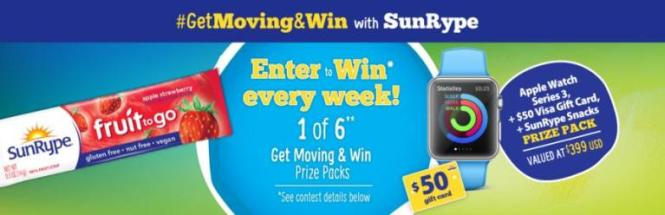 SunRype Get Moving & Win Sweepstakes – Chance to Win Apple Watch Series 3, $50 Visa Gift Card, SunRype Snacks