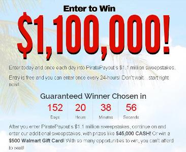 Pirate Payout's $1.1 Million Giveaway Sweepstakes – Chance to Win $45,000 Cash, $500 Walmart Gift Card