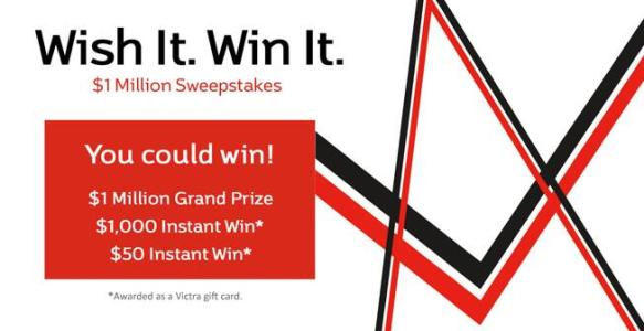 Victra Wish It! Win It! $1 Million Sweepstakes – Chance to Win $1,000 Victra Gift Card, $50 Digital Victra Gift Card