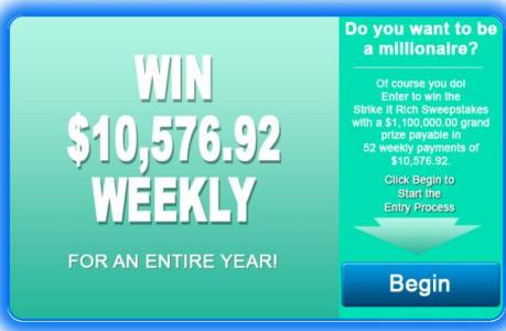 Over $10,000.00 A Week For 52 Weeks Cash Sweepstakes – Chance to Win Over $10,000.00 Cash Prize