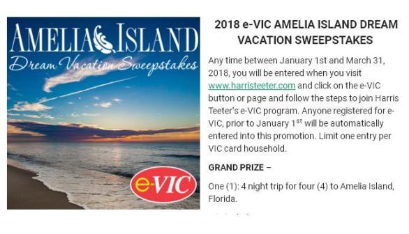 E-VIC Amelia Island Dream Vacation Sweepstakes– Stand Chance to Win A Trip to Amelia Island, Florida