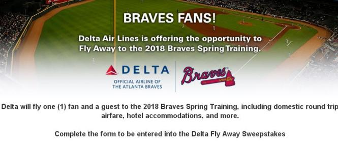 Atlanta Braves Fly Away Sweepstakes – Stand Chance to Win Round-Trip Flights on Delta Air Lines