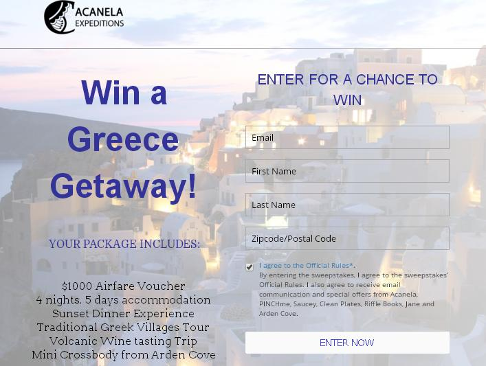 Acanela Greece Getaway Sweepstakes - Enter To Win a $1000 Airfare Voucher,4 Nights, 5 Days Accommodation