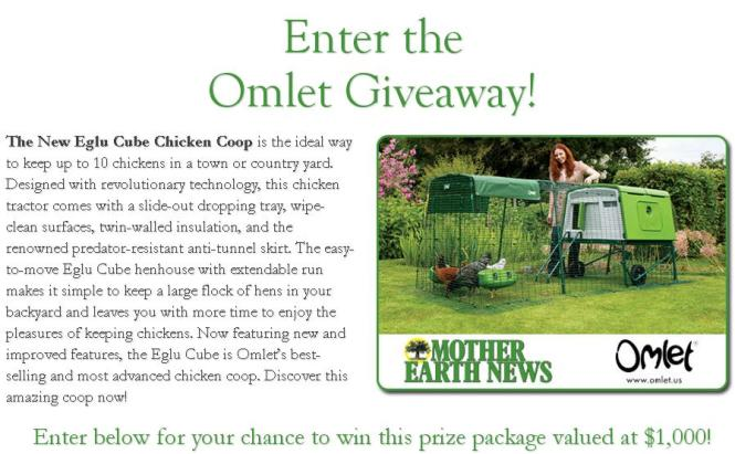Mother Earth News Omlet Giveaway – Stand Chance to Win $1,000 Prize Package
