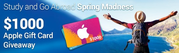 Study and Go Abroad Spring Madness Giveaway - Chance To Win Grand Prize $1000 Apple Gift Card