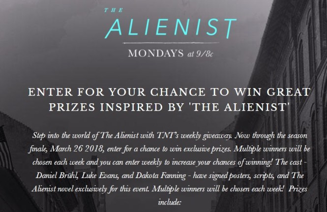 TNT The Alienist Swag Sweepstakes – Enter For Chance To Win A Signed Copy Of The Novel