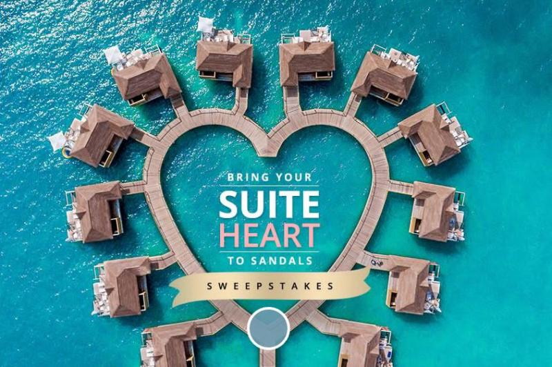 Sandals Resorts - Bring Your Suite-Heart to Sandals Sweepstakes-Enter To Win A 5 Night Luxury Inclusive Vacation For Two In An Over The Water Bungalow At Sandals South Coast