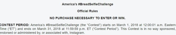 America's Bread Selfie Challenge Instagram Contest - Enter to Have a Chance to Win $10,000 Cash