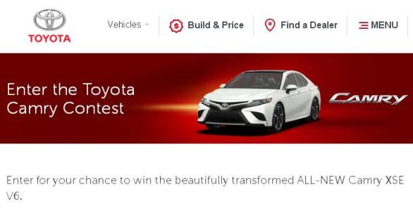 Toyota Camry Contest 2018 – Stand Chance to Win Transformed ALL-NEW Camry XSE V6 Prize