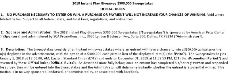 Instant Play Giveaway - Chance To Win $3000 Cash Prize