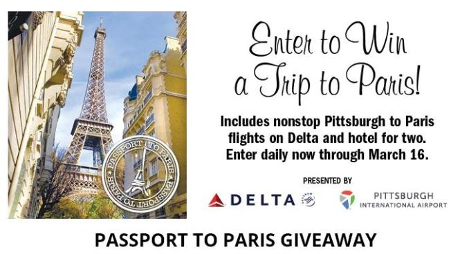 Passport to Paris 2018 Giveaway – Stand Chance to Win a Trip to Paris, Tickets on Delta Air Lines from Pittsburgh to Paris and $1,500 in Visa Gift Cards