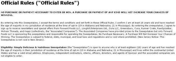 Simply Delicious & Nutritious Sweepstakes- Enter To Win the Nutritious & Delicious Prize Package