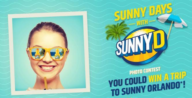Sunny Days with SunnyD Photo Contest-Chance To Win A trip to Orlando Or Los Angeles ,A 20qt Cooler, Sunglasses & SunnyD