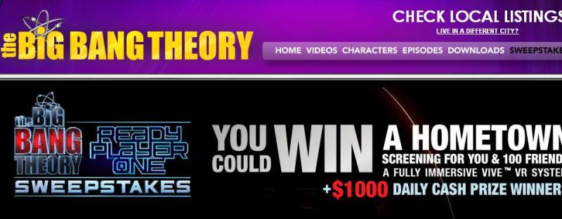 Big Bang Theory Weeknights Ready Player One Sweepstakes - Enter To Win $1,000.00 Cash