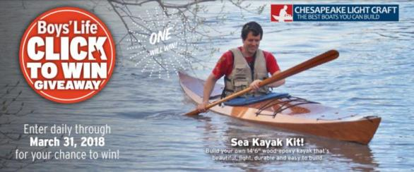 Boys Life Click To Win Giveaway - Enter To Win Sea Kayak Kit, Free Shipping