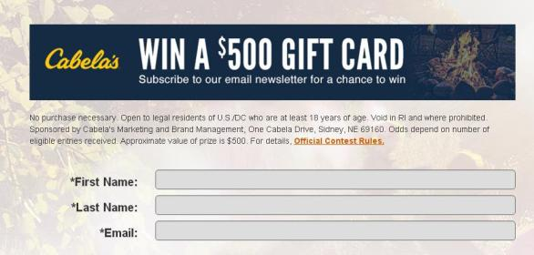 Cabela's Email March Sweepstakes – Stand Chance To Win $500.00 Cabela's Gift Card