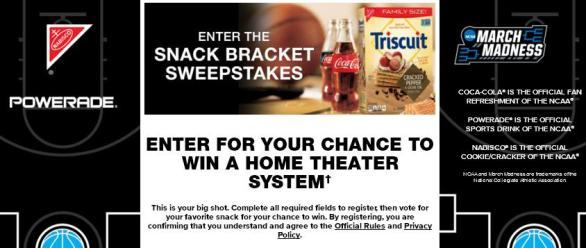Coca Cola Snack Bracket Sweepstakes - Enter For Chance To Win Home Theater System | $100 Visa Prepaid Reward