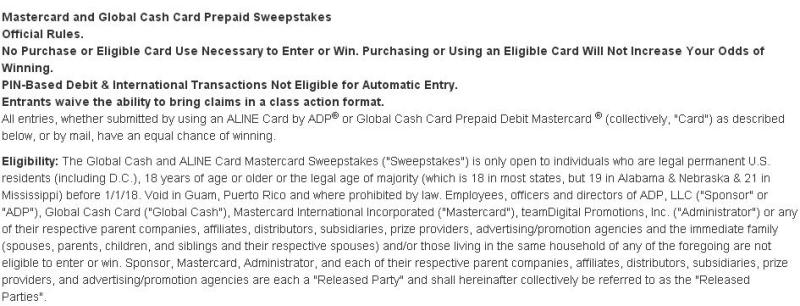 MasterCard and Global Cash Card Prepaid Sweepstakes - Enter To Win Thirty-Six Monthly Prizes