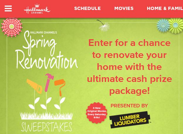 Hallmark Channel Spring Renovation Sweepstakes – Stand Chance to Win $15000, $5,000 Lumber Liquidator Gift Card Prizes