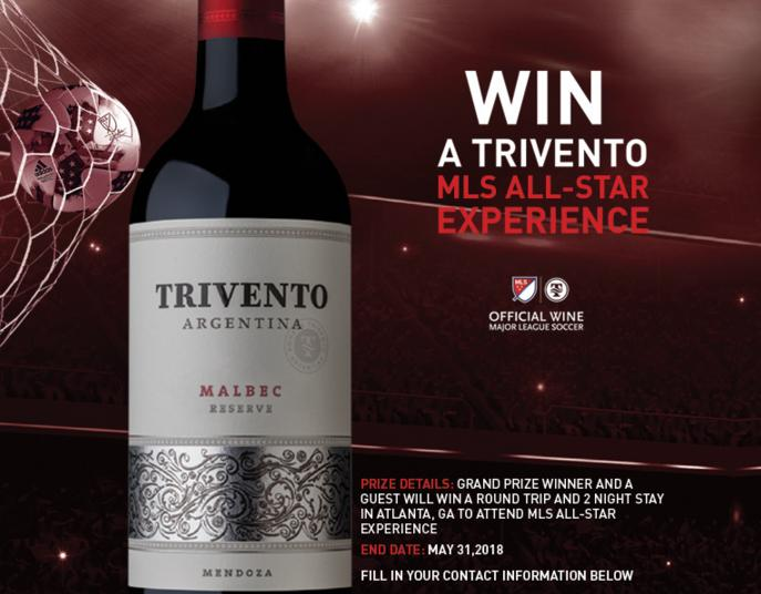 Trivento Wine MLS All-Star Experience Sweepstakes - Chance to Win A Trip To Atlanta