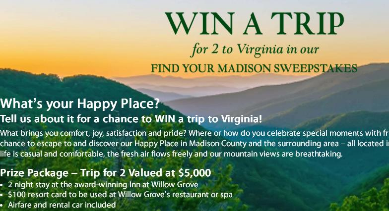 Find Your Madison Trip Sweepstakes– Stand Chance To Win Airfare Tickets To Central Virginia, Gift Card