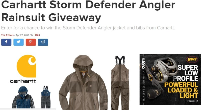 Carhartt Storm Defender Angler Rain suit Giveaway-Win Storm Defender Angler Jacket And Bibs From Carhartt